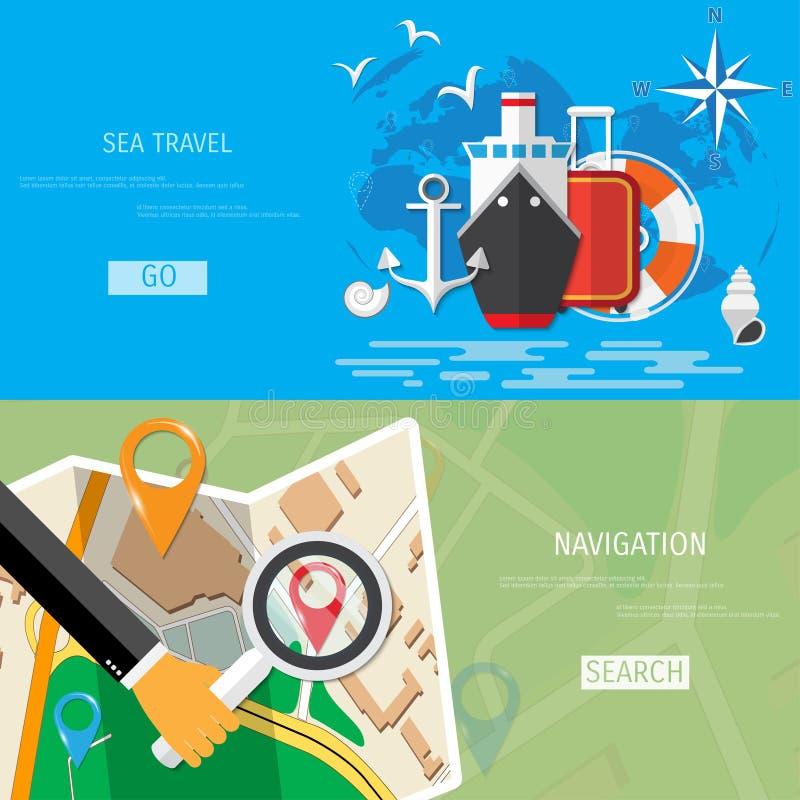 Flaches Konzept des Vektors der Weltreise und -tourismus lizenzfreie abbildung