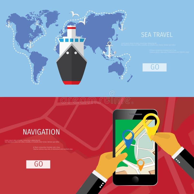 Flaches Konzept des Vektors der Weltreise und -tourismus vektor abbildung