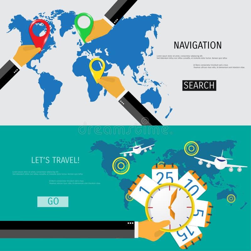 Flaches Konzept des Vektors der Weltreise und -tourismus stock abbildung
