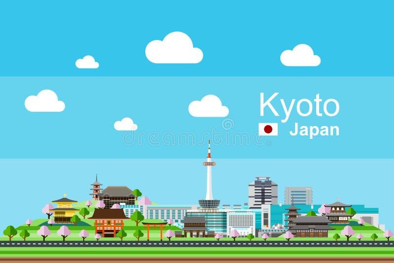 Flaches Kyoto-Stadtbild lizenzfreie abbildung