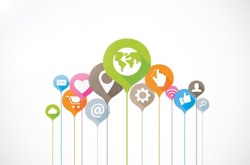 Flaches langes backgrou Schatten der Social Media-Verbindung vektor abbildung