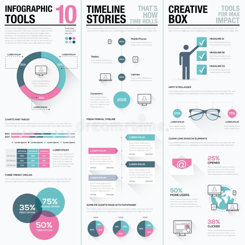 Flaches langes Schattenrosa und blauer kreativer infographic Vektorsatz lizenzfreie abbildung
