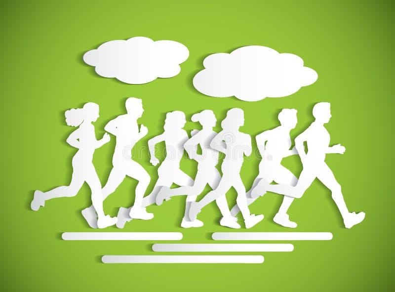 Flaches laufendes Leutesport maraphone Ausschnittschattenbild vektor abbildung