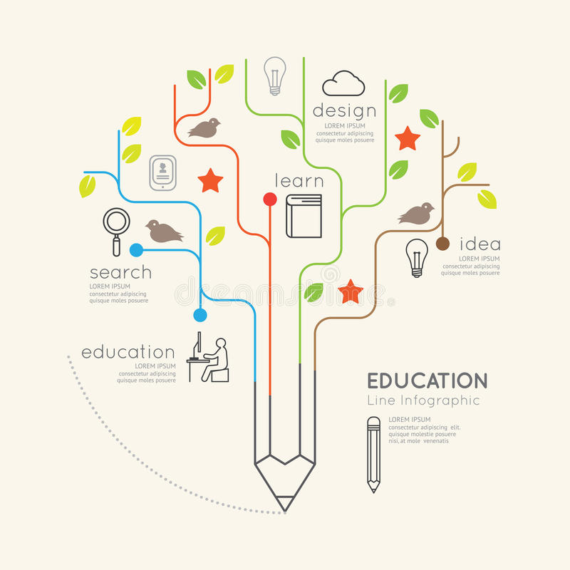 Flaches lineares Infographic-Bildungs-Bleistift-Baum-Entwurfskonzept stock abbildung