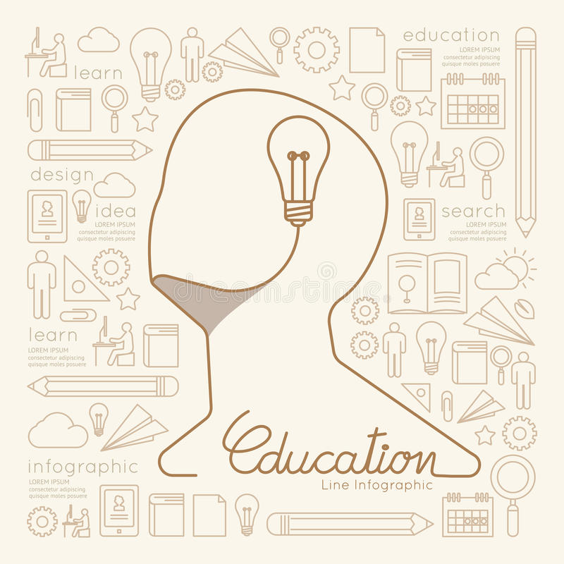 Flaches lineares Infographic-Bildungs-Mann-Brainstorming lizenzfreie abbildung
