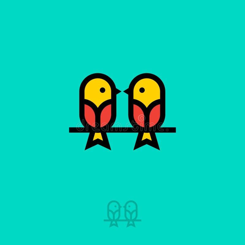 Flaches Logo der Vögel Zwei kleine Vögel Geschnatterikone Liebeschat Sprechendes Schulemblem vektor abbildung