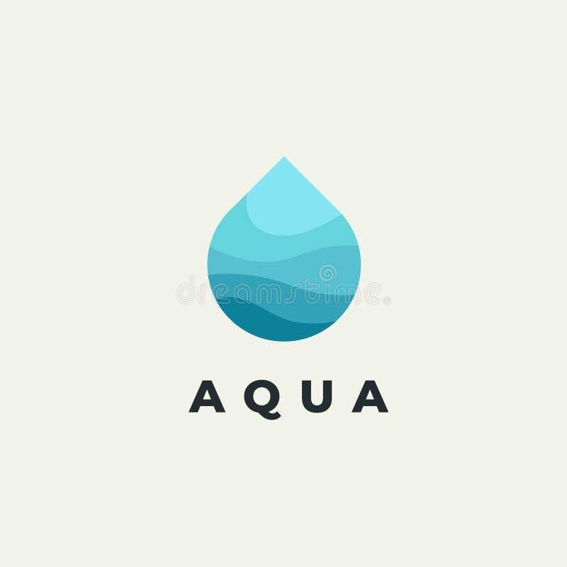 Flaches Logo des unbedeutenden Vektors des Wassertropfens Designschablone der natürlichen Energie stock abbildung