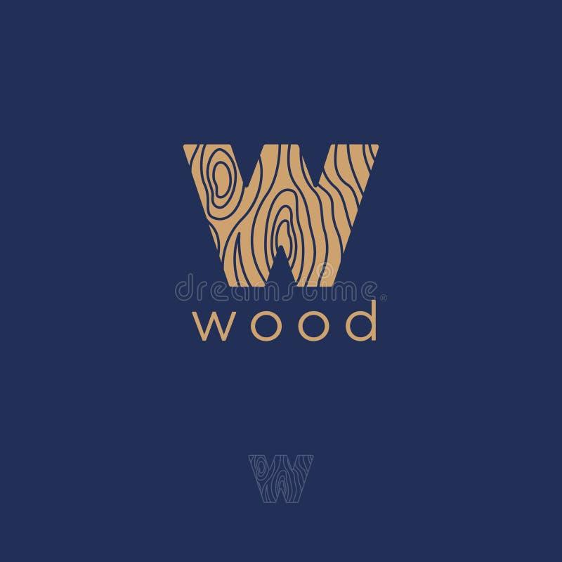 Flaches Logo W W-Holzemblem Buchstabe W mit einer hölzernen Beschaffenheit stock abbildung