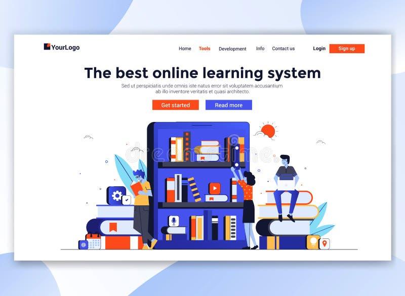 Flaches modernes Design der Websiteschablone - on-line-Bildung vektor abbildung
