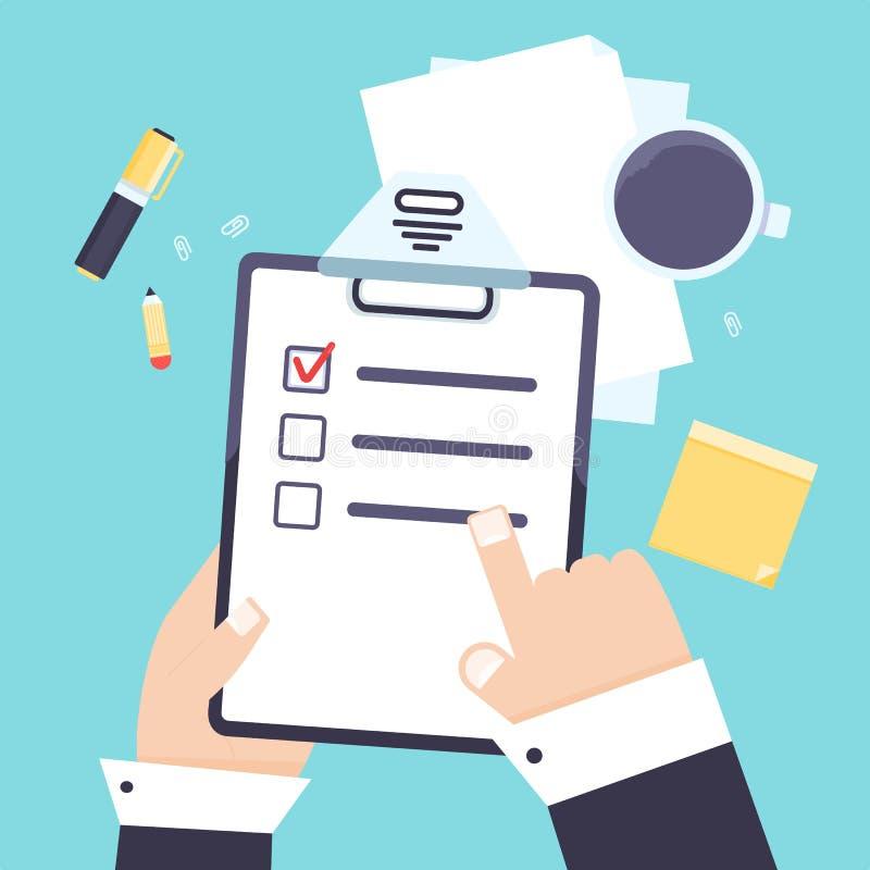 Flaches modernes Tagesordnungslisten-Geschäftskonzept mit Klemmbrett, Bleistiftvektorikone Shedule-Planerpapier, Checklistenikone stock abbildung