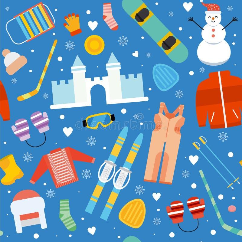 Flaches nahtloses Muster der Winterkindertätigkeit stock abbildung
