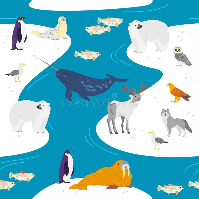 Flaches nahtloses Muster des Vektors mit Handgezogenen Nordtieren, Fische, Vögel, Wasser lokalisiert auf Winterlandschaft vektor abbildung