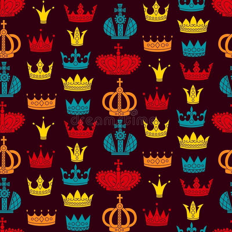 Flaches nahtloses Vektormuster der königlichen Kronen vektor abbildung