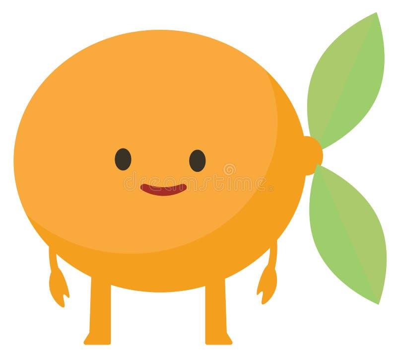 Flaches orange glückliches Monster der Druckkarikaturgekritzelsommer-Farbsatz-Zitrusfrucht lizenzfreie abbildung