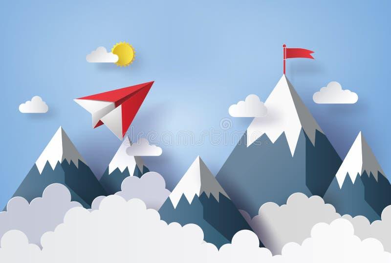 Flaches Papierfliegen auf Himmel lizenzfreie abbildung