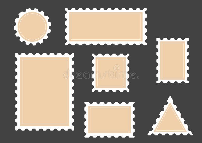 Flaches Rechteck der Briefmarke und quadratische Rahmen eingestellt auf Hintergrund Auch im corel abgehobenen Betrag Weißer Rahme vektor abbildung