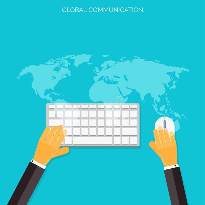 Flaches Social Media und Netzkonzept Grüße über der Welt Verbindung zwischen Leuten vektor abbildung