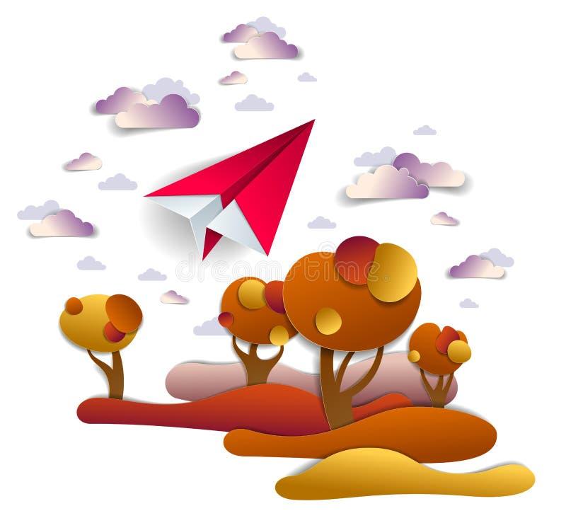 Flaches Spielzeugfliegen des Origamipapiers im Herbsthimmel über den roten und gelben Wiesen und den Bäumen, perfekte Vektorillus vektor abbildung