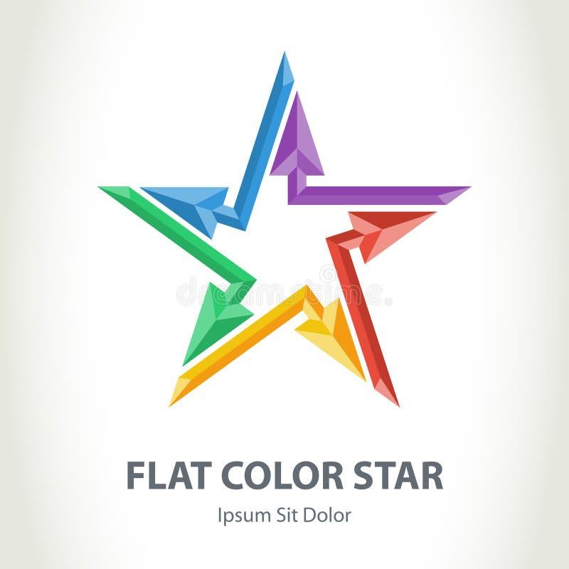 Flaches Sternlogo der Farbe 3d mit Pfeilen Bunter sternförmiger Vektor lizenzfreie abbildung
