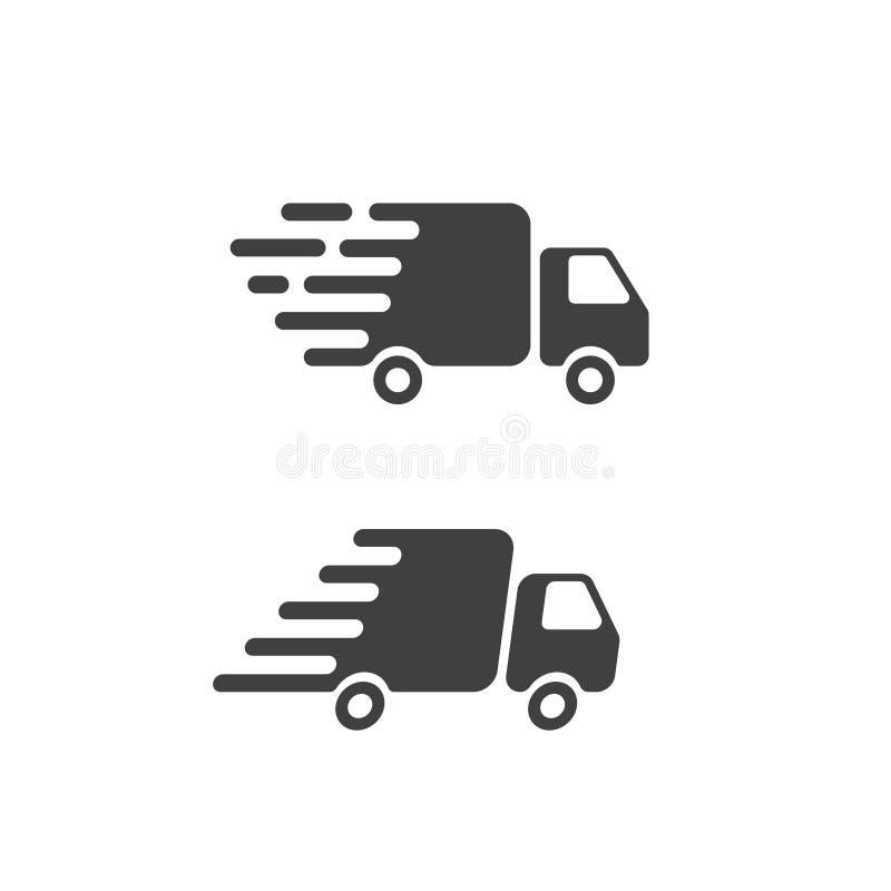 Flaches Symbol der Lieferwagenikone, schnelle Seefracht van pictogram lizenzfreie abbildung