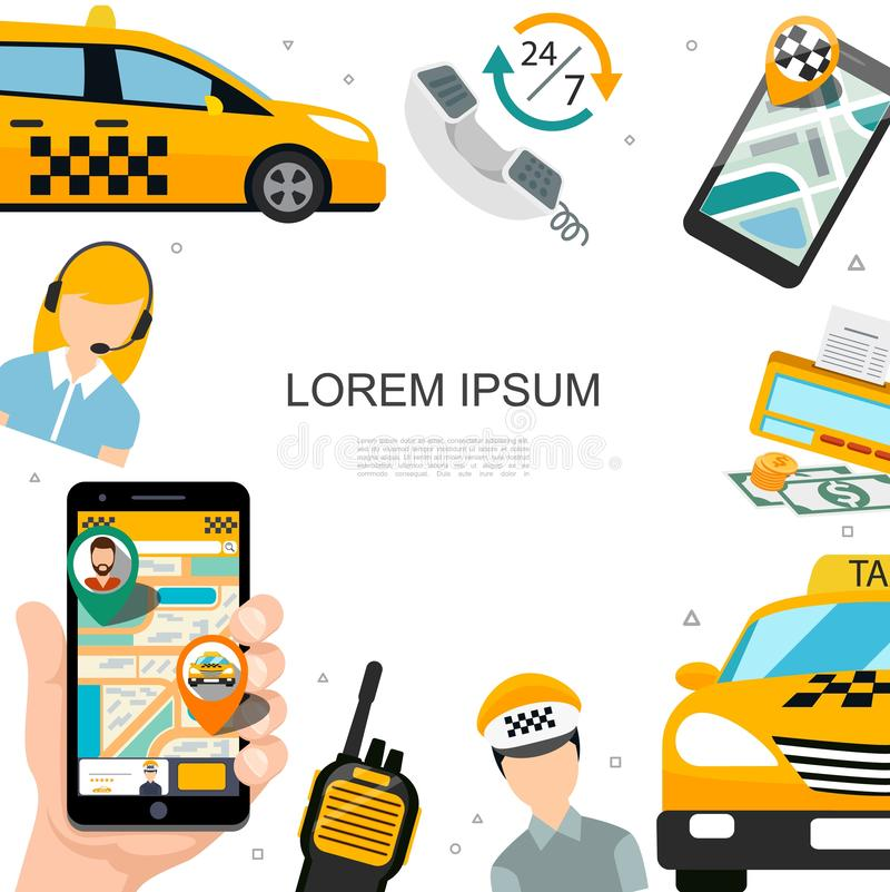 Flaches Taxi-Servicekonzept lizenzfreie abbildung
