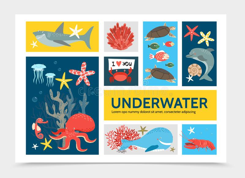 Flaches Unterwasser- Welt-Infographic-Konzept stock abbildung