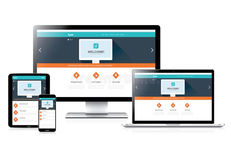 Flaches völlig entgegenkommendes Websitewebdesign in den modernen Computern stock abbildung