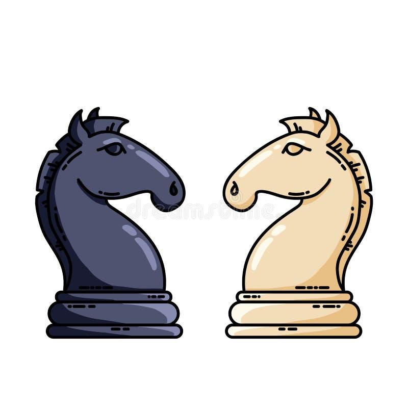 Flaches Vektorbild Schachdes schwarzweiss-Rittervektors lizenzfreie abbildung