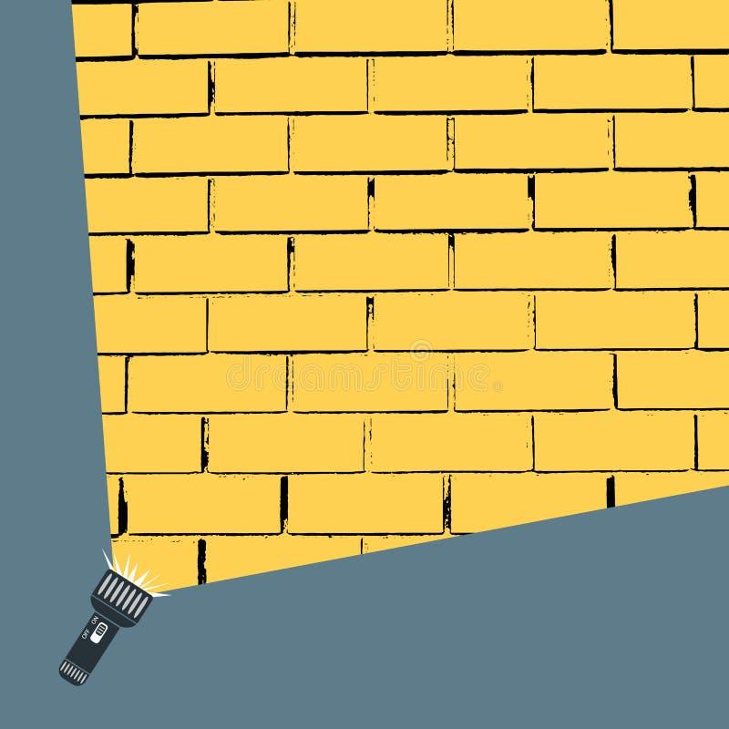 Flaches Vektordesign der Handtaschenlampe und der Projektionsrunde, gelber Lichtstrahl an auf Backsteinmauer Abbildung für Ihre A vektor abbildung