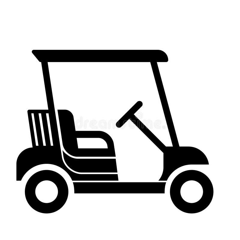 Flaches Vektordesign der netten Golfmobilikone lizenzfreie abbildung