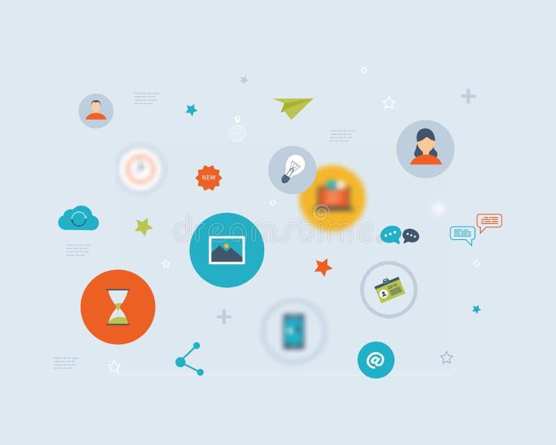 Flaches Vektordesign mit Sozialem Netz und online vektor abbildung