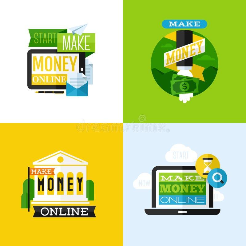 Flaches Vektordesign von machen Geldkonzept mit Finanzikonen lizenzfreie abbildung