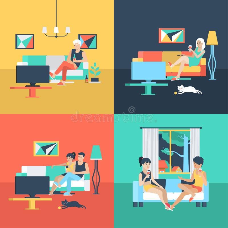 Flaches Vektorfamilie und Innenuhr der Paare zu Hause Fernsehen lizenzfreie abbildung