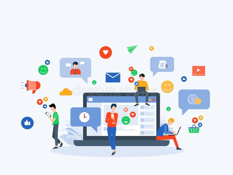 Flaches Vektorillustrationssocial media und digitales vermarktendes on-line-Verbindungskonzept lizenzfreie abbildung