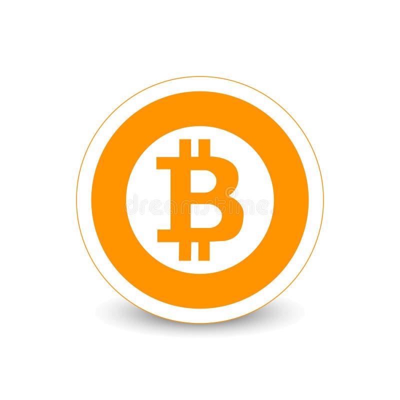 Flaches Vektorlogo Schlüsselwährung Bitcoin, Ikone für Netz, Aufkleber für Druck vektor abbildung