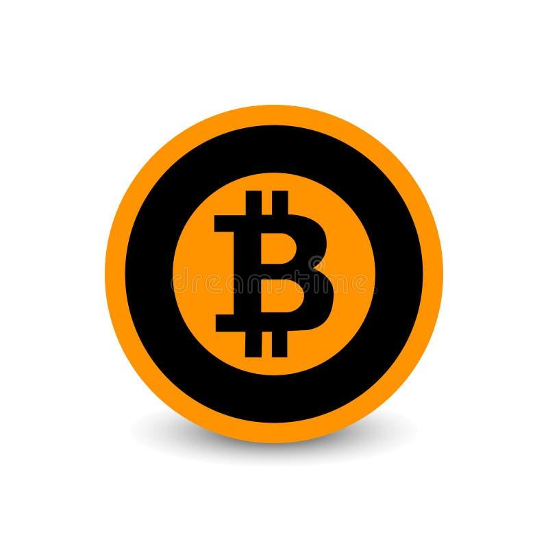 Flaches Vektorlogo Schlüsselwährung Bitcoin, Ikone für Netz, Aufkleber für Druck lizenzfreie abbildung