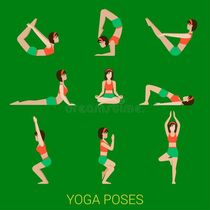 Flaches Vektoryoga und pilates Haltungen stock abbildung