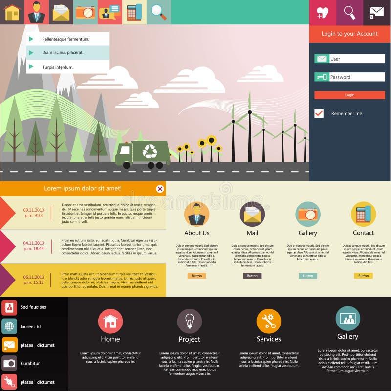 Flaches Website-Schablonen-Design mit eco Elementen stock abbildung
