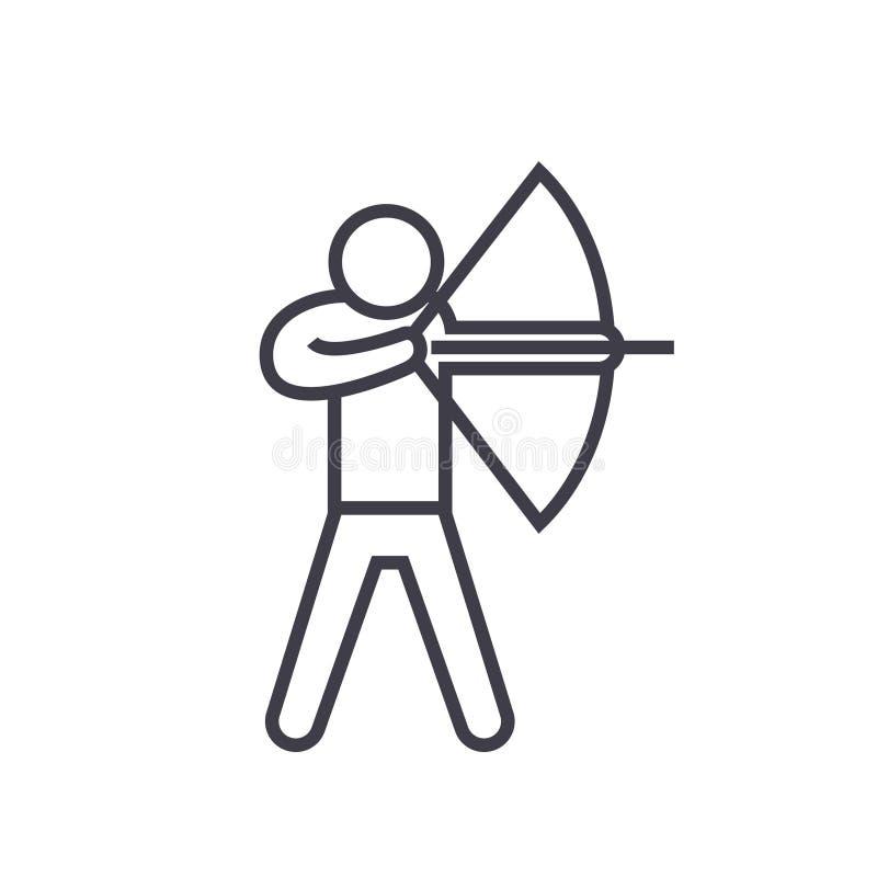 Flaches Zeilendarstellung, Konzeptvektor des Bogenschießens lokalisierte Ikone auf weißem Hintergrund lizenzfreie abbildung