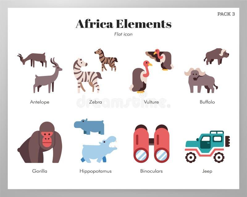 Flachgehäuse Afrika-Elemente stock abbildung