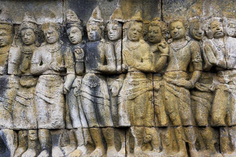 Flachrelief am Borobudur Tempel, Indonesien stockfotografie