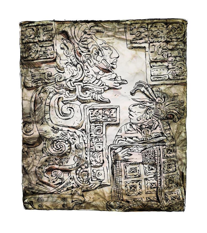 Flachrelief, das mit einem Quetzalcoatl, vor-kolumbianische Mayazivilisation schnitzt Skizze mit bunten Wasserfarbeffekten lizenzfreie abbildung