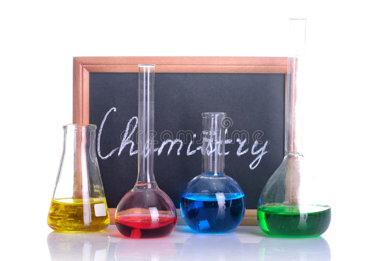 Flacon chimique de laboratoire images libres de droits