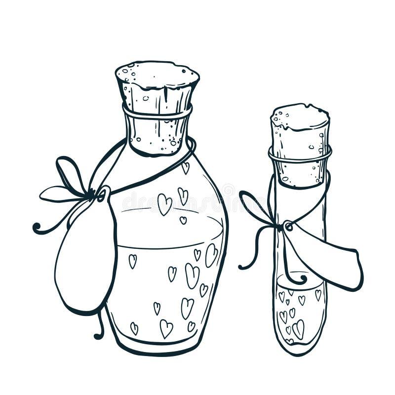 Flacon et tube-essai d'Uncolor avec le style dessiné d'icône de coeurs à disposition Élixir d'amour illustration stock