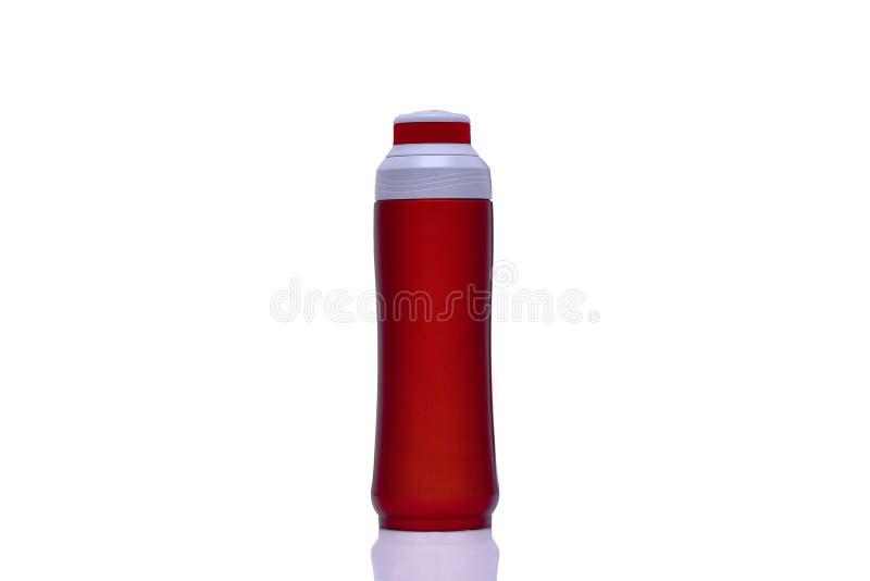 Flacon froid/chaud rouge de thermos d'acier inoxydable images libres de droits