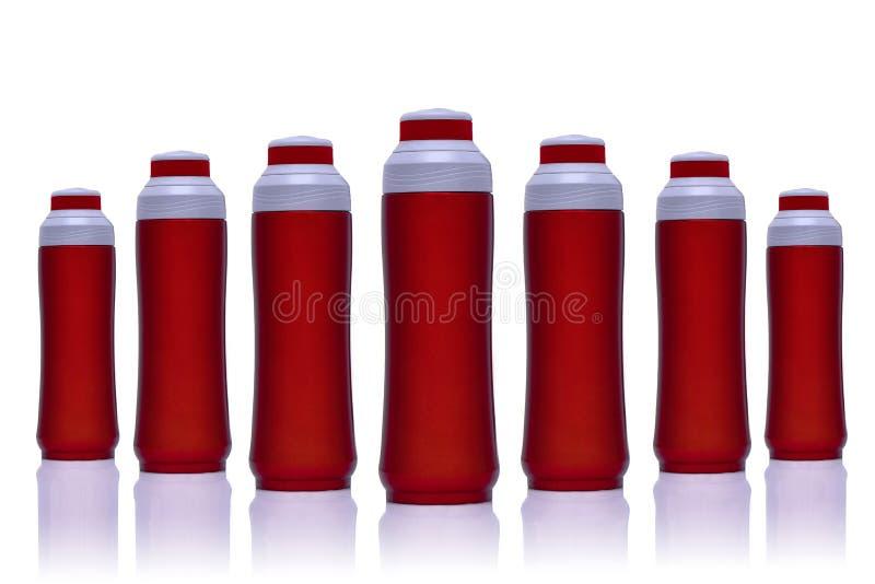 Flacon froid/chaud rouge de thermos d'acier inoxydable photos libres de droits