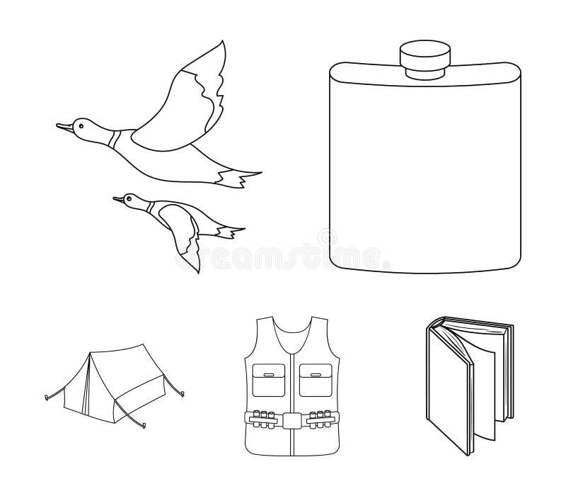 Flacon, gilet avec des cartouches, canards volants, tente En chassant les icônes réglées de collection dans le style d'ensemble d illustration libre de droits