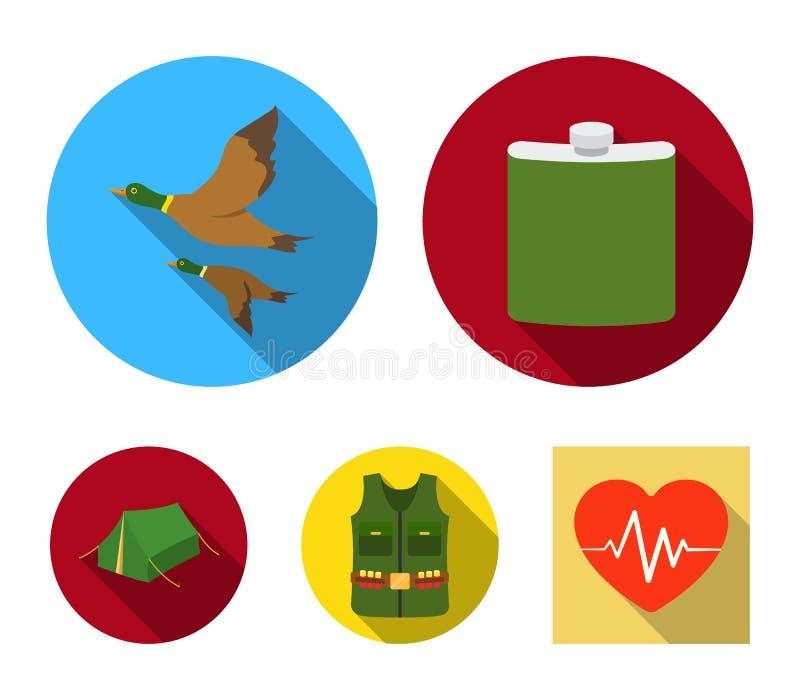 Flacon, gilet avec des cartouches, canards volants, tente En chassant les icônes réglées de collection dans le style plat dirigez illustration stock