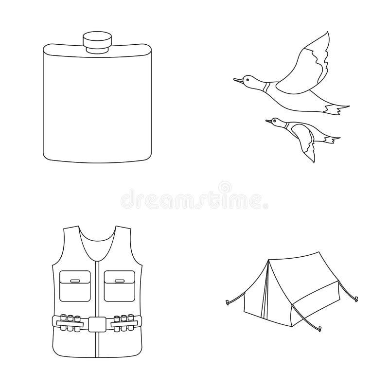 Flacon, gilet avec des cartouches, canards volants, tente En chassant les icônes réglées de collection dans le style d'ensemble d illustration stock