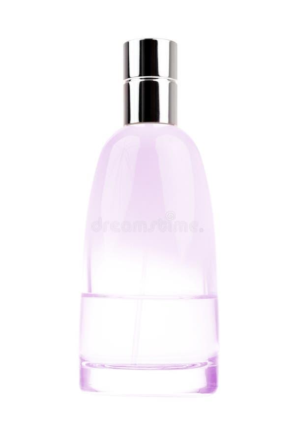 Flacon magenta ovale de parfum d'isolement sur le blanc image stock